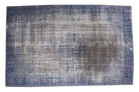 8'2'' x 10'9'' Blue-Grey Color Vintage Turkish Wool Rug,Anatolian Handmade Area Rug,Home Decor,Decorative Rug,Grey-Blue Rug,Nomadic Rug