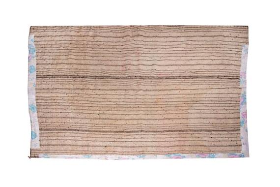 4'9''x6'3'' Brown-Beige Color Vintage Hand Woven Quilt,Anatolian Handmade Quilt,Home Decor,Decorative Quilt Area Quilt,Custom Kurdish Quilt