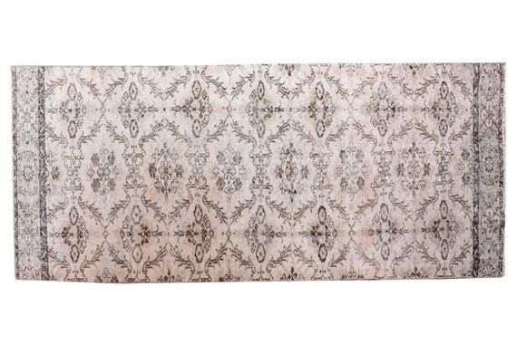 3'08''x10'1''Beige-Brown Color Vintage Turkish Wool Rug,Anatolian Handmade Area Rug,HomeDecor,Decorative Rug,Runner Rug,Nomadic Rug,3252