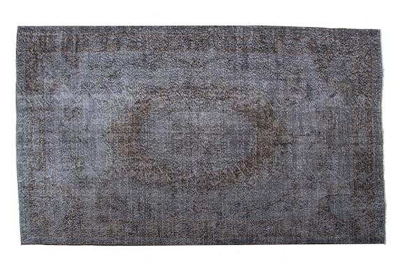 """5'8"""" X 8'9''Vintage Rug,Pastel Gray Color Turkish Area Rug,Bedroom Rug,Neutral Rug,Living Room Rug,Boho Rug,Decorative Rug,Faded Rug,2263"""