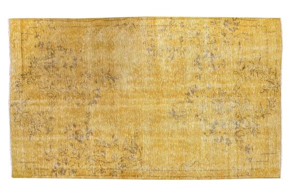 4'5''x8'2''Faded Yellow Color Turkish Wool Rug,Anatolian Ottoman Handmade Area Rug,Decorative Rug,Nomadic Rug,Modern Art Rug,3426