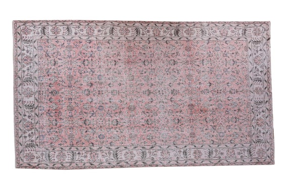5'2''x8'8''Faded Red-Beige Color Turkish Wool Rug,Anatolian Ottoman Handmade Area Rug,Decorative Rug,Nomadic Rug,Modern Art Rug,3181