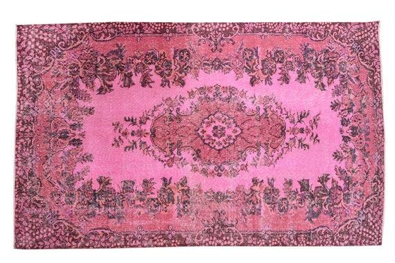 5'4''x8'6''Faded Pink Color Turkish Wool Rug,Anatolian Ottoman Handmade Area Rug,Decorative Rug,Nomadic Rug,Modern Art Rug,3422