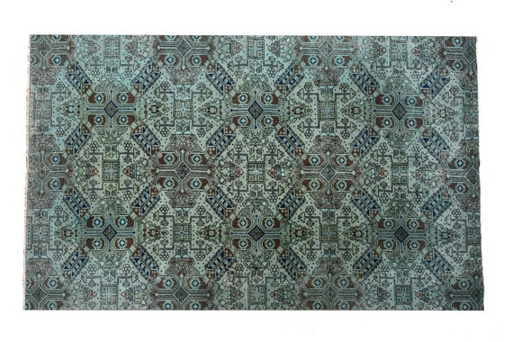 4'4''x6'9''Faded Gray Colorful Turkish Wool Rug,Anatolian Ottoman Handmade Area Rug,Decorative Rug,Nomadic Rug,Modern Art Rug,3448