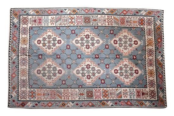 6'7''x9'5''Vintage Navy Blue Color Turkish Area Rug, Bedroom Rug, Neutral Rug, Living Room Rug, Boho Rug, Antique Rug, Decorative Rug,2821