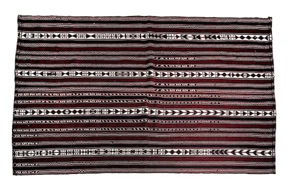4'9''x6'3''Burgundy-White Color Vintage Turkish Wool Rug,Anatolian Handmade Area Rug,Home Decor,Decorative Rug,Custom Cicim Rug,Nomadic Rug