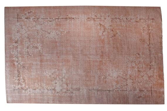 """6'8"""" X 10'07''Vintage Rug,Pastel Pink Colors Turkish Area Rug,Bedroom Rug,Neutral Rug,Living Room Rug,Boho Rug,Decorative Rug,Faded Rug,3209"""