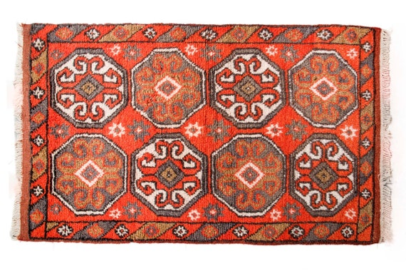 2'6''x4'4''Orange-Multi Color Vintage Turkish Wool Rug,Anatolian Handmade Area Rug,Home Decor,Decorative Rug,Old Fragman Rug,Nomadic Rug