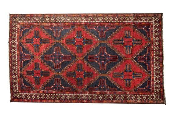 4'7''x 7'3''Special Red-Navy Blue Color Vintage Turkish Old Sumak Wool Rug,Anatolian Handmade Area Rug,Sumak Rug,Nomadic Rug,Custom Rug