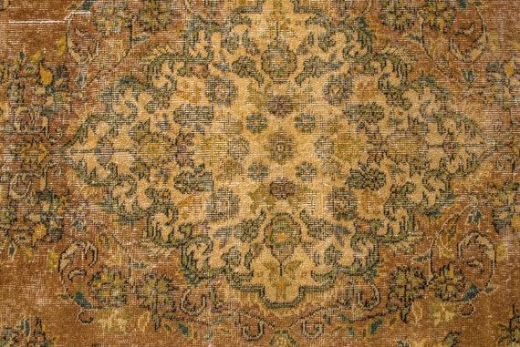 4'5''x8'8''Yellow Color Vintage Turkish Wool Rug,Anatolian Ottoman Handmade Area Rug,Home Decor,Decorative Rug,Nomadic Rug,Modern Custom Rug