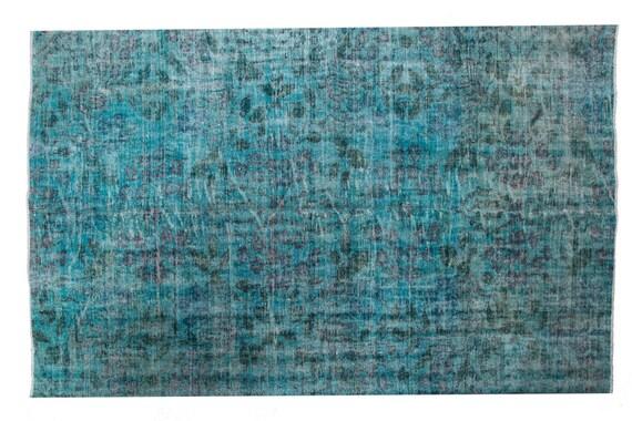 "5'7"" X 9'02'' Faded Blue Color Vintage Turkish Wool Rug,Anatolian Handmade Area Rug,Decorative Rug,Nomadic Rug,An Artistic Work Rug,3105"