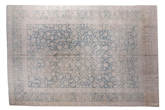 9'1''x12'3''Natural-Blue Color Turkish Wool Rug,Anatolian Ottoman Handmade Area Rug,Decorative Rug,Nomadic Rug,Modern Art Rug,3238