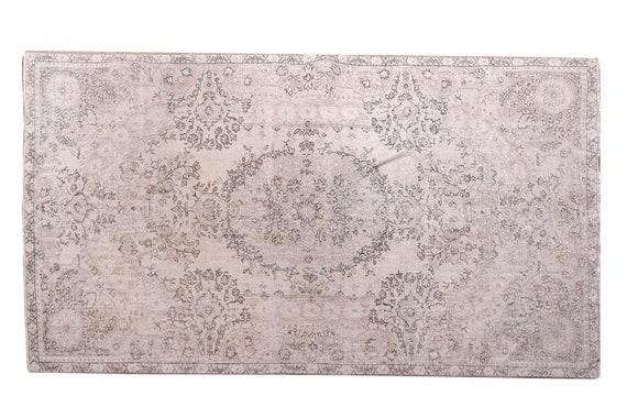 5'3''x8'6''Faded Beige-Black Color Turkish Wool Rug,Anatolian Ottoman Handmade Area Rug,Decorative Rug,Nomadic Rug,Modern Art Rug,3225