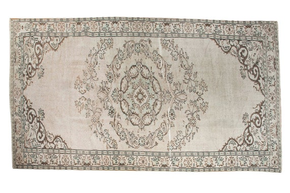 5'5''x9'1''Natural Pastel Beige-Brown Color Vintage Turkish Wool Rug,Anatolian  Handmade Area Rug,Decorative Rug,Nomadic Rug,Modern Rug