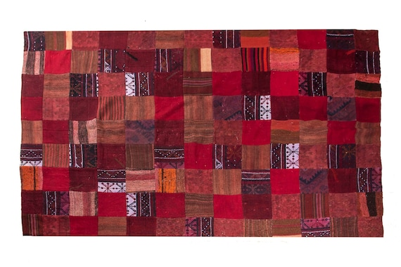 5'7''x8'2'' feet Patchwork Rug ,Custom Red-Mix Color Rug Vintage Area Rug made of Vintage Faded Turkish Rugs , collage Unique Area Rug,3010