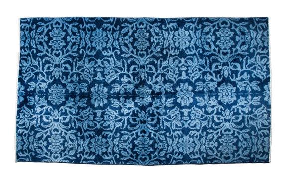 3'6'' x 6'2'' Dark Navy Blue Color Vintage Turkish Wool Rug,Anatolian Handmade Area Rug,Home Decor,Decorative Rug ,Nomadic Rug,Modern Rug