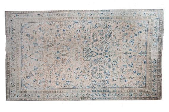 9'8''x13'4''Natural Pastel Beige-Blue Color Turkish Wool Rug,Anatolian Ottoman Handmade Area Rug,Decorative Rug,Nomadic Rug,Modern  Rug,3130