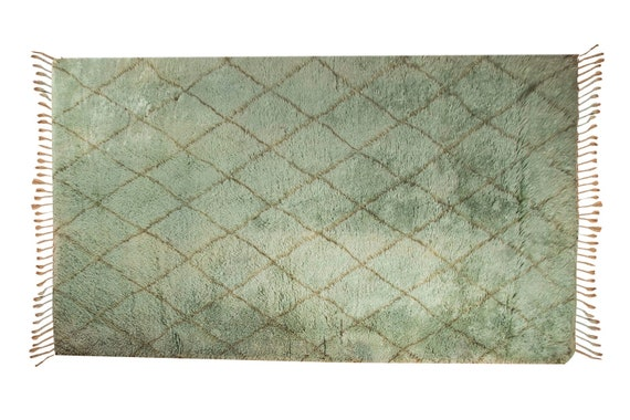 Unique Tulu Rug 6'5''x11'1''GreenColor Shaggy Rug , Oushak rug ,Bohemian Rustic Rug , handmade area rug,Turkish vintage rug  by KilimRugHome