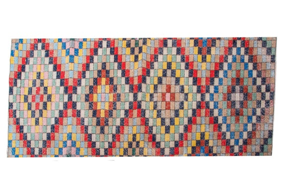 "2'9""X8'5''Geometric  Rainbow Color Vintage Turkish Wool Rug,Mid Country Rug,Anatolian Handmade AreaRug,Nomadic Rug,An Artistic Work Rug,3148"