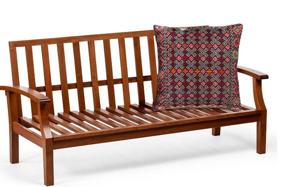 "21.2'' x 22.4""Turkish Anatolian Geometric Pillow, Beige Pillow, Striped Wool Pillow, Oushak Red Pillow, Kilim Rug Pillow, Boho Black Pillow"