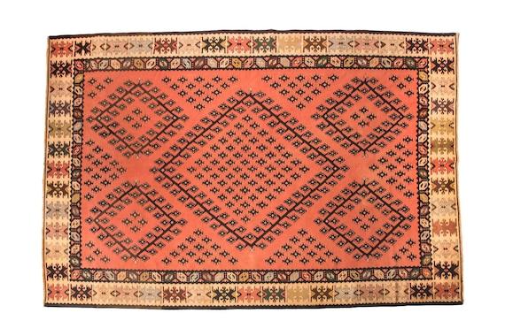 7'3'' x 9'5'' Red-Black Color Vintage Turkish Wool Rug,Anatolian Handmade Area Rug,Home Decor,Decorative Rug,Immigrant Rug,Nomadic Rug