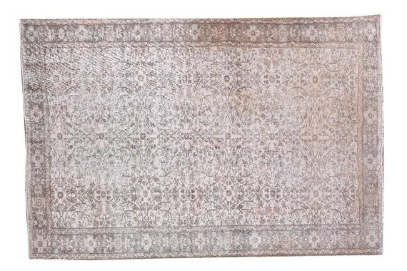 5'4''x8'9''Faded Beige-Gray Color Turkish Wool Rug,Anatolian Ottoman Handmade Area Rug,Decorative Rug,Nomadic Rug,Modern Art Rug,3183