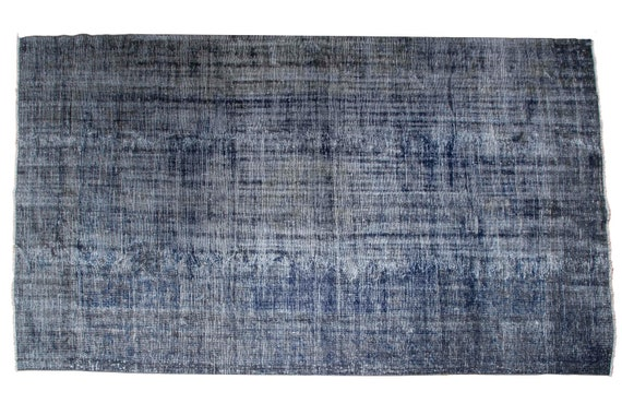 7'05''x9'7''Dark Blue Color Vintage Turkish Wool Rug,Anatolian Ottoman Handmade Area Rug,Home Decor,Decorative Rug,Nomadic Rug,Demirci Rug