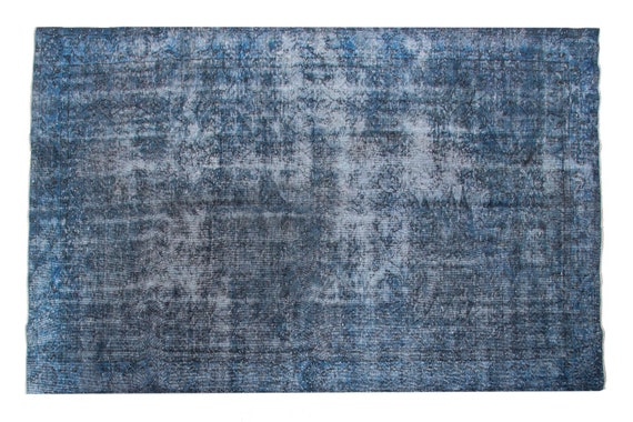 "5'6"" X 9'1''Faded  Blue Color Vintage Turkish Wool Rug,Anatolian Handmade Area Rug,Decorative Rug,Nomadic Rug,An Artistic Work Rug,1219"