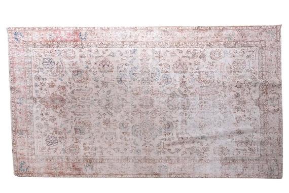 6'4''x9'8''Vintage Rug,Beige Color Turkish Area Rug,Bedroom Rug,Neutral Rug,Living Room Rug,Boho Rug,Decorative Rug,Faded Rug,3224