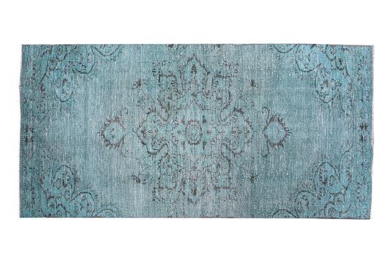 3'4''x9'2''Faded Blue-Black Color Runner Turkish Wool Rug,Anatolian Ottoman Handmade Area Rug,Decorative Rug,Nomadic Rug,Modern Art Rug,3457