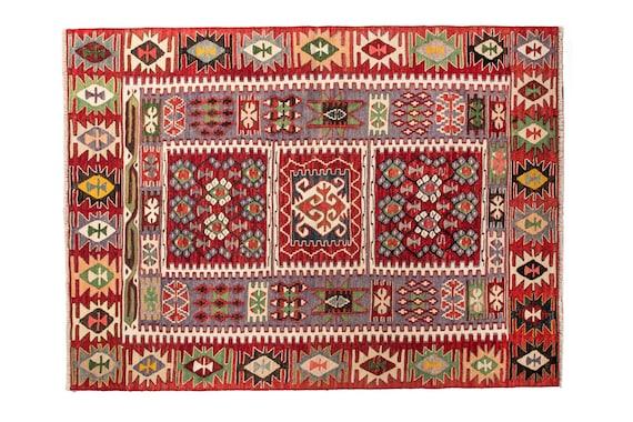 3'7''x5'08''Red-Mix Color Vintage Turkish Wool Rug,Anatolian Ottoman Handmade Area Rug,Home Decor,Decorative Rug,Nomadic Rug,Collection Rug