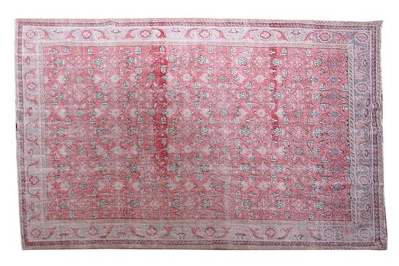 6'6''x10'1''Vintage Rug,Pastel Red Color Turkish Area Rug,Bedroom Rug,Neutral Rug,Living Room Rug,Boho Rug,Decorative Rug,Faded Rug,3221