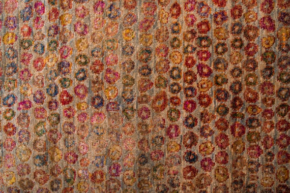 "8'0"" X 9'8''  Rainbow Color Vintage Turkish Wool Bamboo Rug,Anatolian Handmade Area Rug,Decorative Rug,Nomadic Rug,An Artistic Work Rug,2561"
