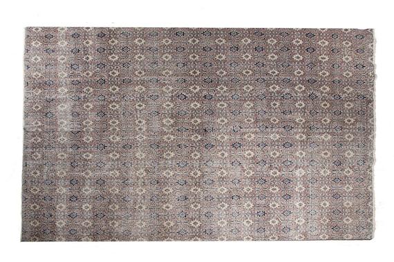 7'05''x10'4''Brown-Beige Color Vintage Turkish Wool Rug,Anatolian Ottoman Handmade Area Rug,Decorative Rug,Nomadic Rug,Modern Art Rug,2569