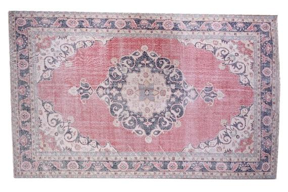 6'8''x10'9''Vintage Rug,Pastel Red Color Turkish Area Rug,Bedroom Rug,Neutral Rug,Living Room Rug,Boho Rug,Decorative Rug,Faded Rug,3199