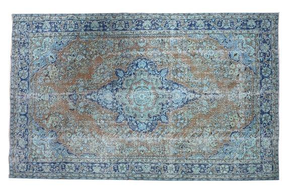 6'5''x10'1''Faded Brown-Blue Color Turkish Wool Rug,Anatolian Ottoman Handmade Area Rug,Decorative Rug,Nomadic Rug,Modern Art Rug,3425