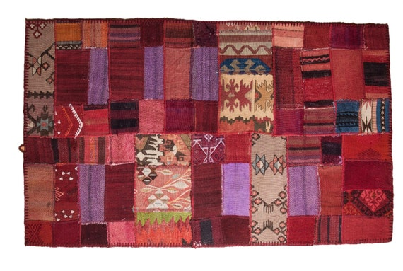 Red Patchwork Rug,Custom Old Collection Design Rug,Vintage Area Rug made of Vintage Faded Turkish Rugs ,collage Unique Area Rug,2.7x4.5 feet