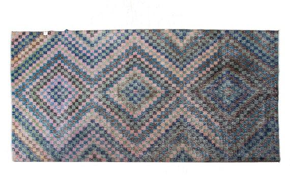 "5'7""X9'5''Mid Country Faded Geometric  Multi  Color Vintage Turkish Wool Rug,Modern Rug,Anatolian Handmade AreaRug,An Artistic Work Rug,3138"