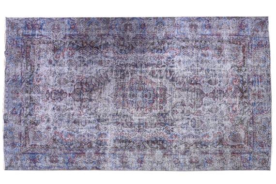 6'2''x9'8''Faded  Gray-Blue Color Turkish Wool Rug,Anatolian Ottoman Handmade Area Rug,Decorative Rug,Nomadic Rug,Modern Art Rug,3414
