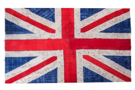 6'5''x9'8''England Flag Patchwork Rug,Red-Blue Color Rug Vintage Area Rug made of Vintage Faded Turkish Rugs , collage Unique Area Rug,43