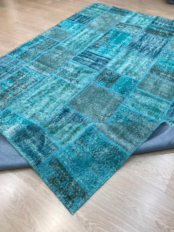 Turquoise Large Patchwork Rug , Turquoise Rug Vintage Area Rug made of Vintage Faded Turkish Rugs , collage Unique Area Rug,6.5x9.8feet