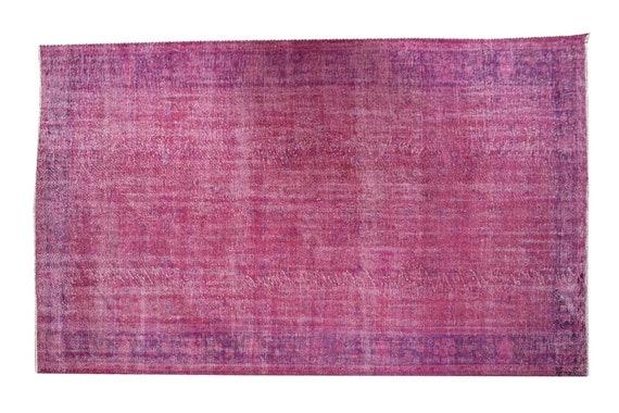 """6'8"""" X 10'0''Vintage Rug,Pastel Pink Color Turkish Area Rug,Bedroom Rug,Neutral Rug,Living Room Rug,Boho Rug,Decorative Rug,Faded Rug,3188"""