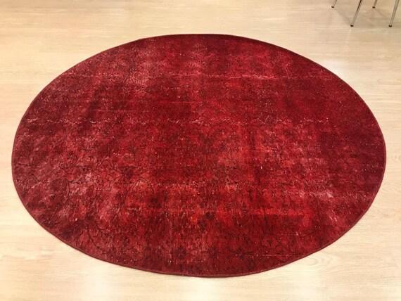 6'5'' x 6'5'' Red  Color Circle Vintage Turkish Wool Rug,Anatolian Handmade Area Rug,Home Decor,Decorative Rug ,Nomadic Rug,Modern Rug