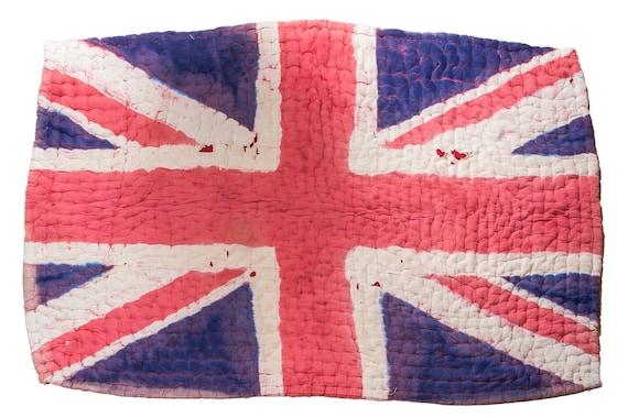4'9''x7'5''England Flag Vintage Hand Woven Quilt,Anatolian Handmade Quilt,Home Decor,Quilt Area Quilt,Custom Kurdish Quilt,33