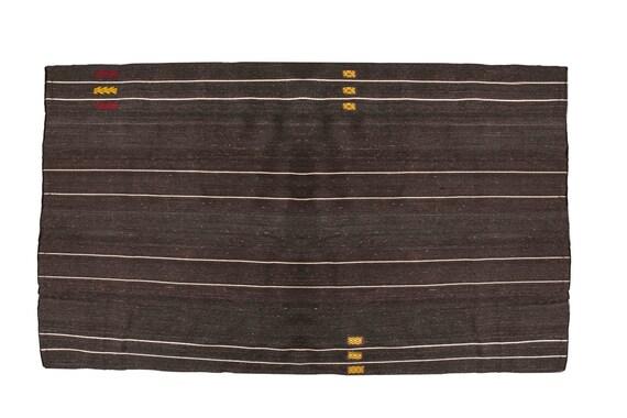 8'3''x 11'6'' Black-White Color Vintage Turkish Wool Rug,Anatolian Handmade Area Rug,Home Decor,Decorative Rug,Custom Design Rug,Nomadic Rug