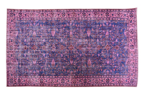 5'2''x8'2''Faded Blue-Pink Color Turkish Wool Rug,Anatolian Ottoman Handmade Area Rug,Decorative Rug,Nomadic Rug,Modern Art Rug,3441