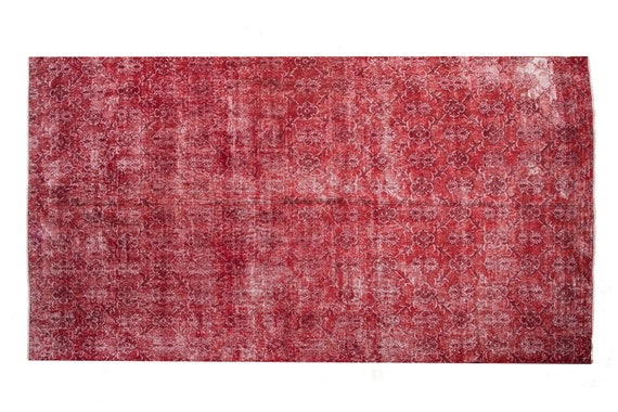 """6'2""""X10'4''Mid Country Faded Red Color Vintage Turkish Wool Rug,Mid Country Rug,Anatolian Handmade Area Rug,An Artistic Work Rug,"""
