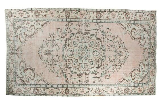 5'9''x9'3''Pastel Light  Colors Vintage Turkish Wool Rug,Anatolian  Handmade Area Rug,Home Decor,Decorative Rug,Nomadic Rug,Modern  Rug