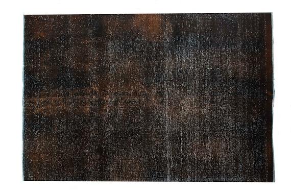 "5'5"" X 8'2''Brown-Black Color Vintage Turkish Wool Rug,Anatolian Handmade Area Rug,Decorative Rug,Nomadic Rug,An Artistic Work Rug,3102"