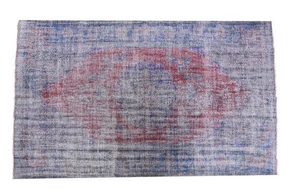 5'4''x9'05''Faded Red Gray-Blue Color Turkish Wool Rug,Anatolian Ottoman Handmade Area Rug,Decorative Rug,Nomadic Rug,Modern Art Rug,3449
